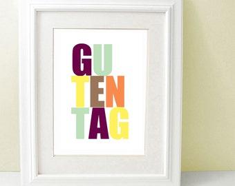 Guten Tag, Modern Typography, German Quotes, German Saying, Learning German, Deutsch Poster, Minimalist Art, Scandinavian Design, SALE