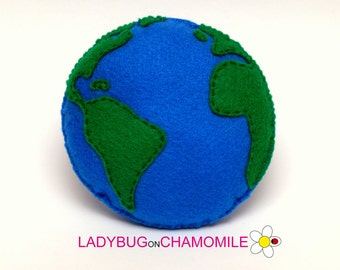 Filz Erde, gefüllte Filz Erde Magnet oder Ornament, Erde Spielzeug, Space, Universum, Kinderzimmer, Magnet Erde, Erde, Ornament, Planet Erde