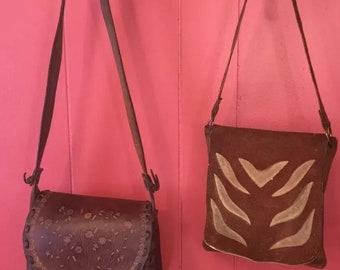 2 vintage hippie 1960's hand made leather purses