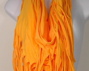 Yellow Fringe Cotton Infinity Scarves Sunflower Yellow Boho  Scarves Necklace Scarves Yellow Infinity Scarf Cotton Scarves Summer Scarf