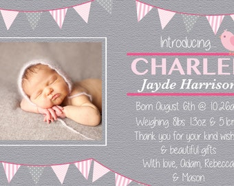 Baby girl baby announcement card Invite