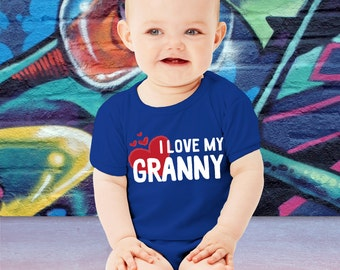 Cute I Love My Granny Baby Bodysuit or Toddler T-Shirt Gift For Grandma Granny Mothers Day TShirt Family Gift Youth Crawler Grandparents Day