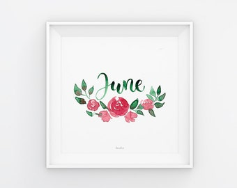 June lettering with watercolor flowers, download, print template, printable, 21 x 21 cm, calendar, square, painting, seasonal