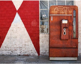 OId Rusty Coca-Cola Machine Against Red & White Wall — 9x12 Americana Photo Art — Limited Edition Route  66 Photography by Liberty Images