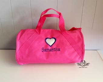Personalized pink duffle bag for girls, monogram duffel bag, Girls Overnight bag, girls gym bag, gymnastic bag, gifts for girls