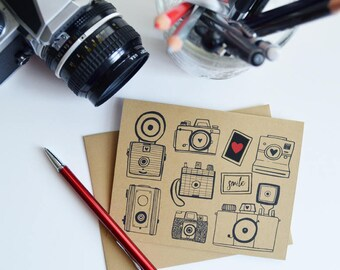 Set of Four Camera Folded Note Cards, Stationery, Hand Drawn, Illustration, Photography, Vintage Camera, Photographer gift, Camera Collector