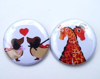 Love Badges - Animal Badges - Cute Badges - Badge Set - Hot Dogs Badges - Giraffe Badges - Valentines Badges