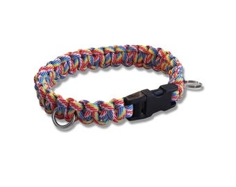 Custom made paracord dog collar (Candy stripe)