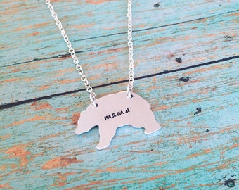 Custom handstamped mama bear necklace, mothers jewelry, gift for mom, Mother's Day, stamped jewelry, gift for her, silver bear pendant