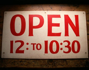 Vintage Handpainted Open Signs - Red and White - Two Available