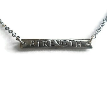 Strength Necklace, Personalized Necklace, Bar Necklace