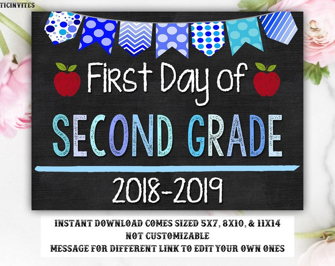 First Day of Second Grade Sign, Instant Download, First Day of School Chalkboard, Boy, 2nd Grade, First Day of School, Printable Sign, Blue