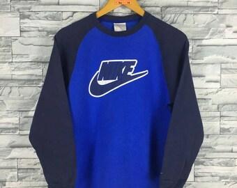 Vintage 90's NIKE SWOOSH Sweatshirt Women Medium Blue Nike Sportswear Streetwear Nike Raglan Sweater Nike Big Logo Pullover Jumper Size M