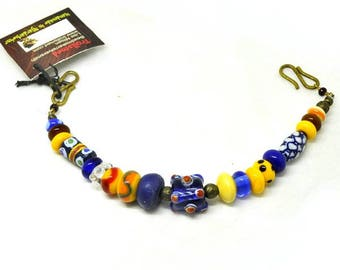 Handmade beads, Blue and yellow row finished for apron dress