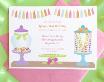 Candy shop invitation, candy land party, candy shop birthday, sweet shop birthday party, girls birthday party, 1st birthday party invitation