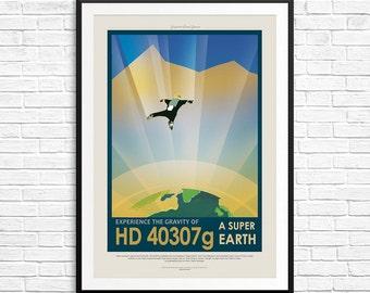 NASA HD40307g Poster, NASA Posters, Visions of the Future, Space Travel Posters, Retro Travel Posters, Space Art Print, Kids Room Print Set