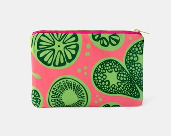 Frutti Pink Lime Green Zipper Makeup Pouch, Cosmetic bag, Toiletry, pink Purse, Girly gift, Hot Pink Clutch, Carry-all bag, Fruit print