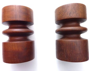 Heavy Wood Candle Stick Holders Turned Wood Pedestal Candle Holders
