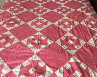 "Antique Churn Dash Quilt Top, 1900's, Pink on White Background, 70"" by 80"", Hand Quilted"