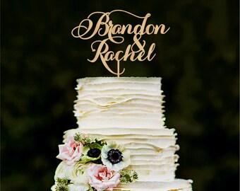 Personalized wedding cake topper, custom names cake topper, rustic wedding, gold cake topper, wood cake topper for wedding
