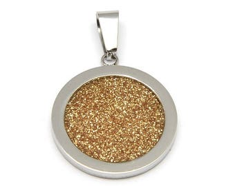 Locket in stainless steel Silver and gold powder