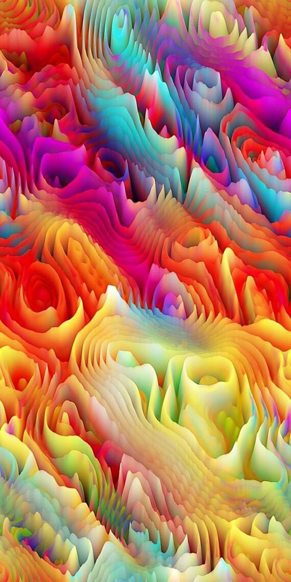 Artist Handmade Cotton Fabric Fiber Art By The Yard Vibrant Colors Maze Abstract Kaleidoscope Quilting Craft