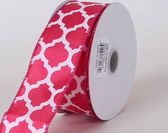 "1.5"" Fuchsia Quatrefoil Ribbon, Fuchsia Lattice Ribbon, Hot Pink Lattice Ribbon (10 yards) - Q518709-28"