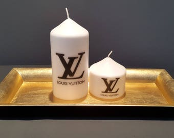LV Inspired Pillar Candles