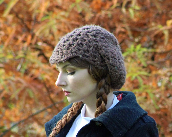 Brown Hat and Texting Gloves Set  Soft Warm Winter Accessory Gift for Women or Men Newsboy Hat Handmade Christmas Ready to ship