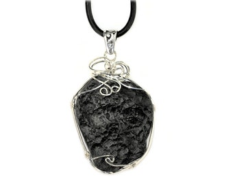 Premium Meteorite Impact Authentic Tektite Necklace Jewelry Sterling Silver - Large Size
