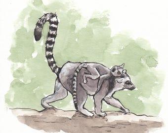 5x6 Original Lemur With Baby Watercolor