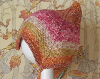Quirky knitted Pixiehat Summer Sunset