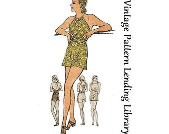 1933 Ladies Bette Davis Bathing Suit in Two Styles - Reproduction Sewing Pattern #T5215