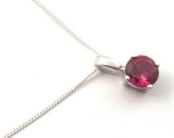1ct Solitaire 4 Claw Ruby Pendant set in Sterling Silver, July Birthstone