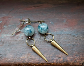 Blue Agate Gemstone Earrings - Geometric Jewelry, Dainty Gemstone Earrings, Boho Jewelry, Blue and Gold Earrings, Watercolor Earrings