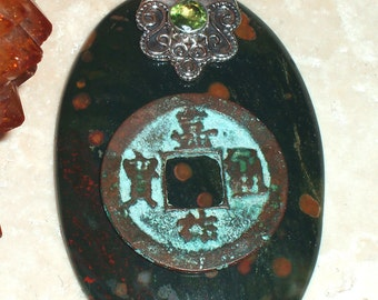 Ancient Song Dynasty Coin on Bloodstone