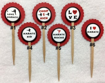 Set Of 12 Karate Martial Arts Cupcake Toppers (Your Choice Of Any 12)