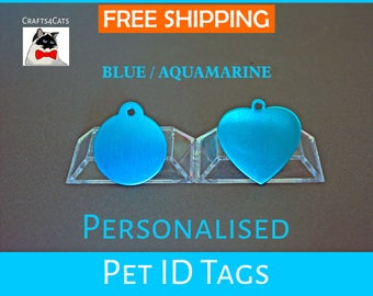 Cat ID tag - Blue / Aquamarine - Personalised pet tag with a bell, dog tag, pet id engraved - Cat and dog collar tag