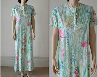 70s Maxi Dress Knit Watercolor Floral Joan Leslie Dress
