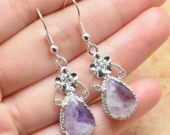 Natural Amethyst silver plated earrings (#J744)