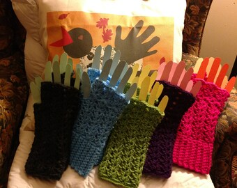 Easter Gift, Fingerless Gloves,  Handmade Wrist Warmers, Fingerless Mittens, Hand Crochet, Texting Gloves, Country Goods