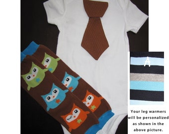 OWLS SET - Tie bodysuit and leg warmers set for baby boys