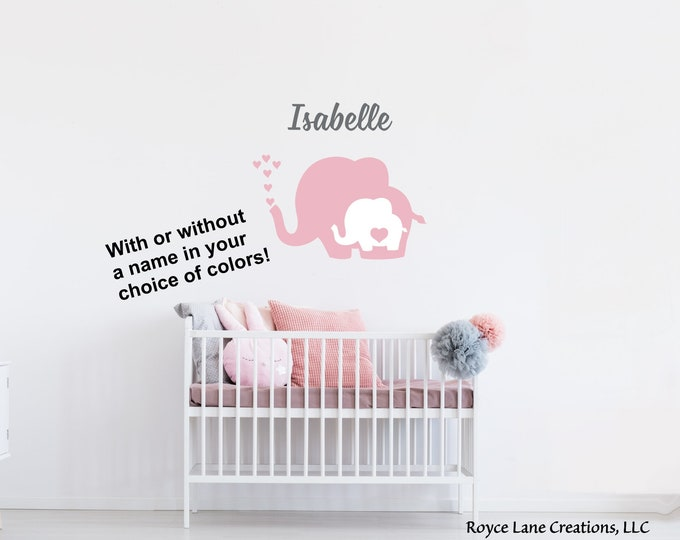 Elephant Wall Decal / Elephant Name Wall Decal / Baby Elephant with Heart / Nursery Elephant Wall Decal / Nursery Elephant Decals with Heart