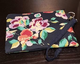 Navy Floral Wristlet