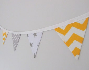 Yellow and Grey Mini Bunting, baby shower, new baby, nursery, birthday bunting, banner, mini