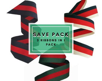 Striped grosgrain mix of ribbons trims, Sale pack of mixed ribbons for fashion and crafts