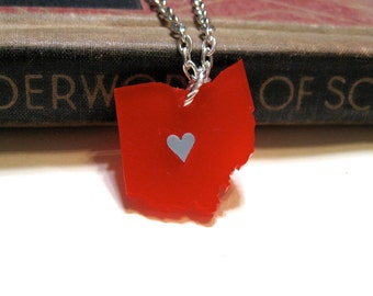 Ohio Love Necklace - Scarlet and Gray - Ohio State Buckeyes - Red Grey