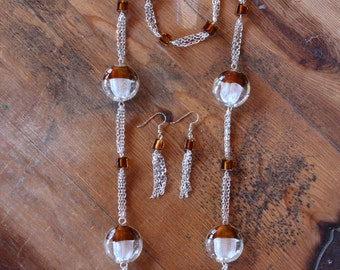 Silver Chain Glass Bead Jewelry Set