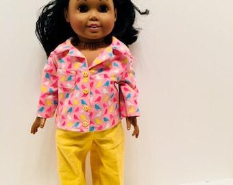 "DN19- 18"" Doll Pyjama Outfit: cozy multicoloured bird pyjama set for Maplelea and American Girl"