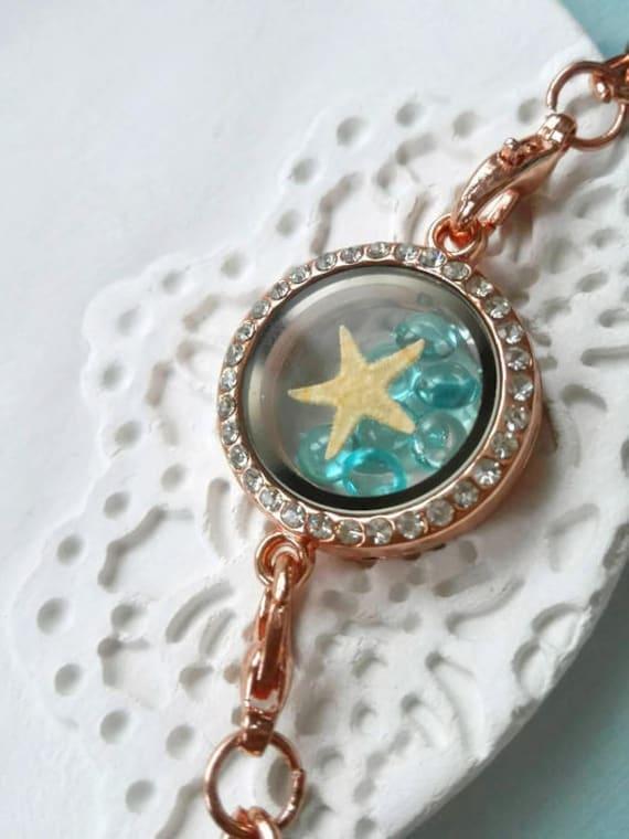 Beach lovers gift Real starfish bracelet rhinestone bracelet Ocean bracelet chain Nautical jewelry Rose gold bracelet Star glass locket Blue